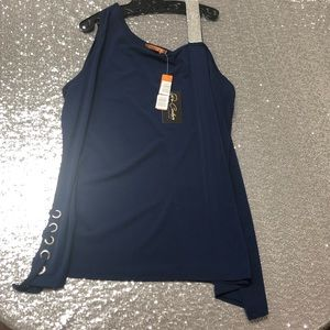 NWT Navy Blue Plus Size 2X Tank Top Crystal Strap